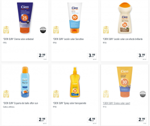 Lista de crema solar cien para comprar online